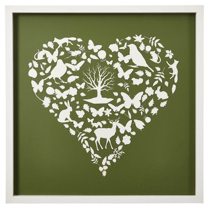 Forest Animal Heart, Leaf Green