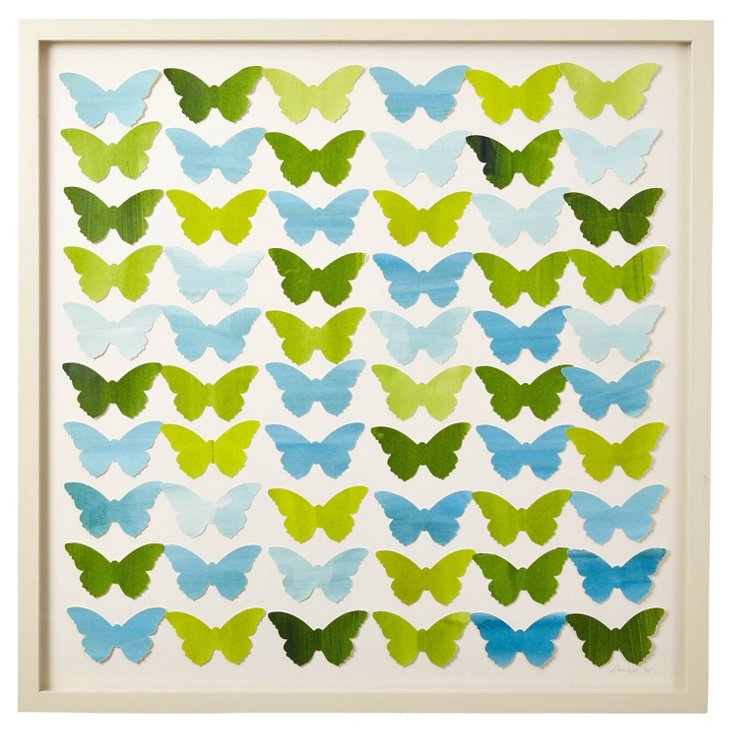 Cut Watercolor Butterfly Collage, Green