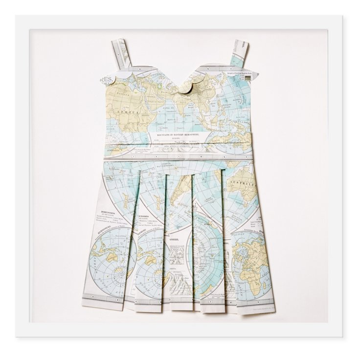 Folded Map Dress, Globe