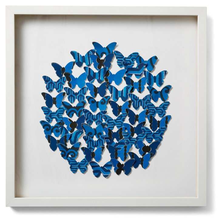 Cut Butterfly Collage Circle, Blue