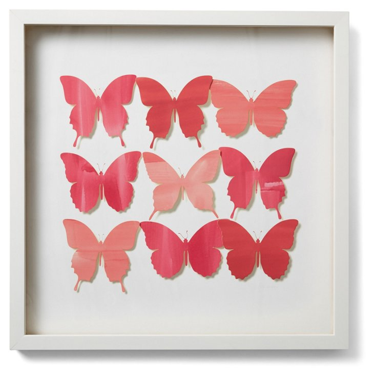 Watercolor Butterfly Collage, Pink