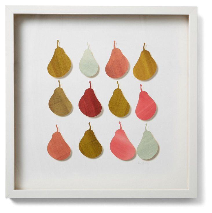 Watercolor Pear Collage, Red