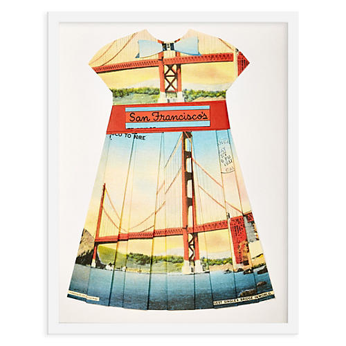 Folded Paper Dress, Golden Gate Bridge