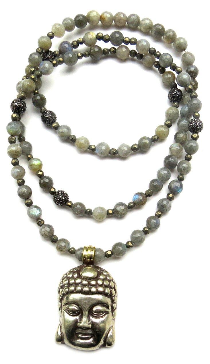Silver Buddha & Labradorite Necklace