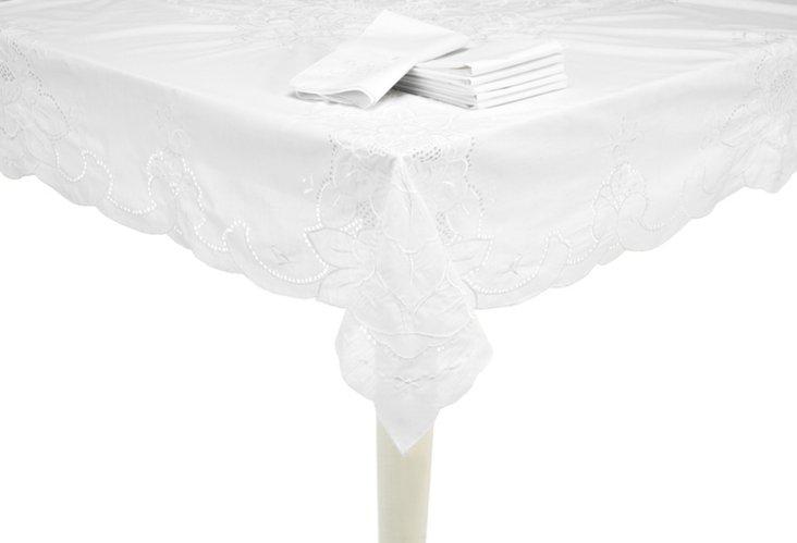 Floral Tablecloth & 8 Napkin Set