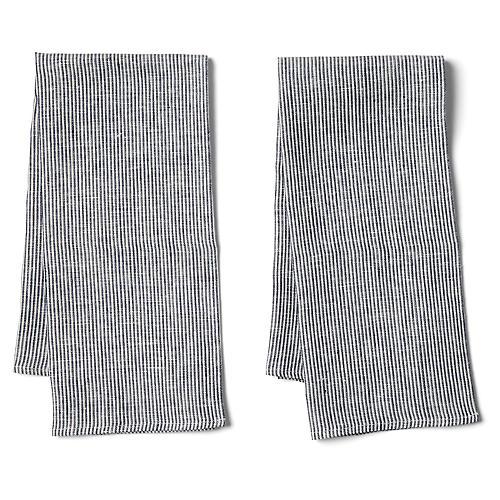 S/2 Seersucker Tea Towels, White/Black
