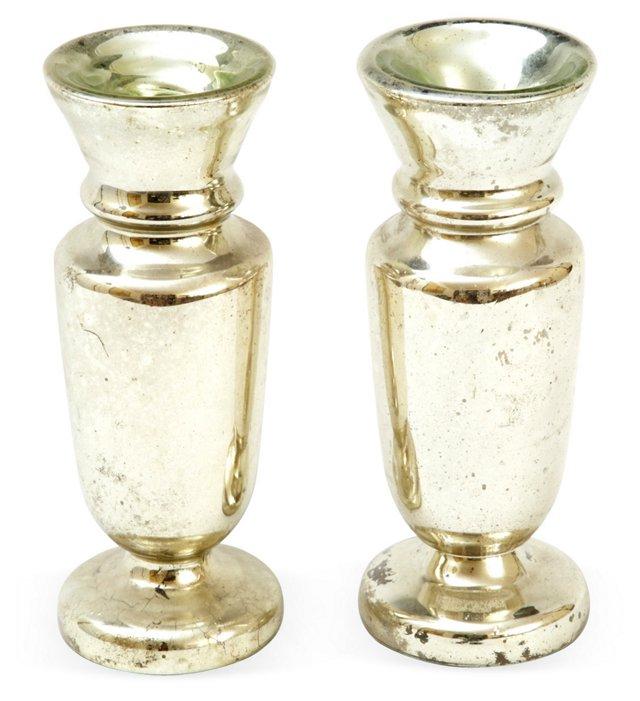 Mercury Glass Vases, Pair