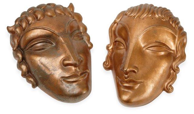 Art Deco Copper Wall Masks, Set of 2