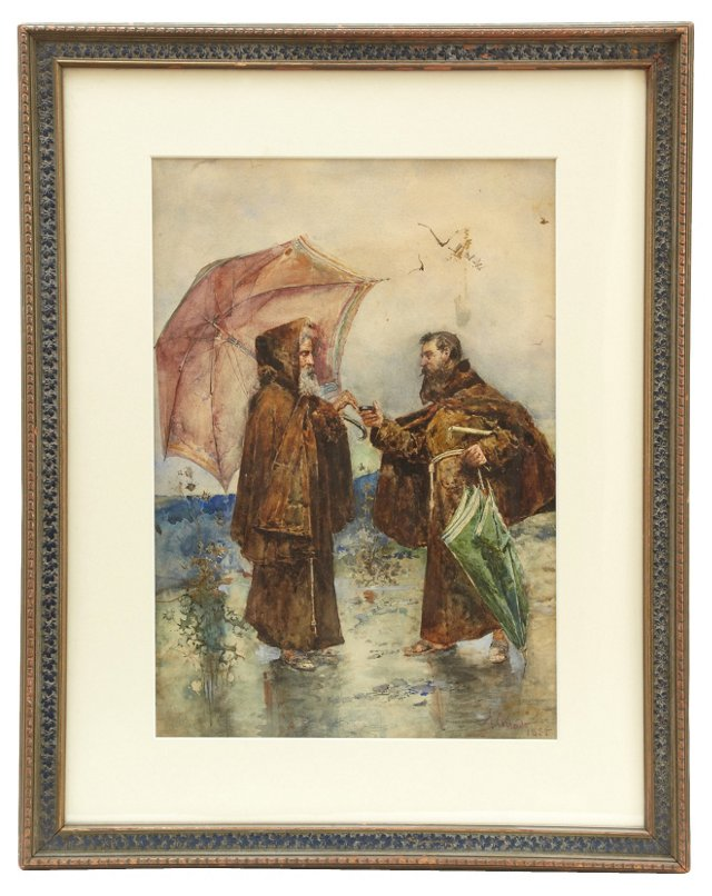 19th-C. Watercolor, Monks