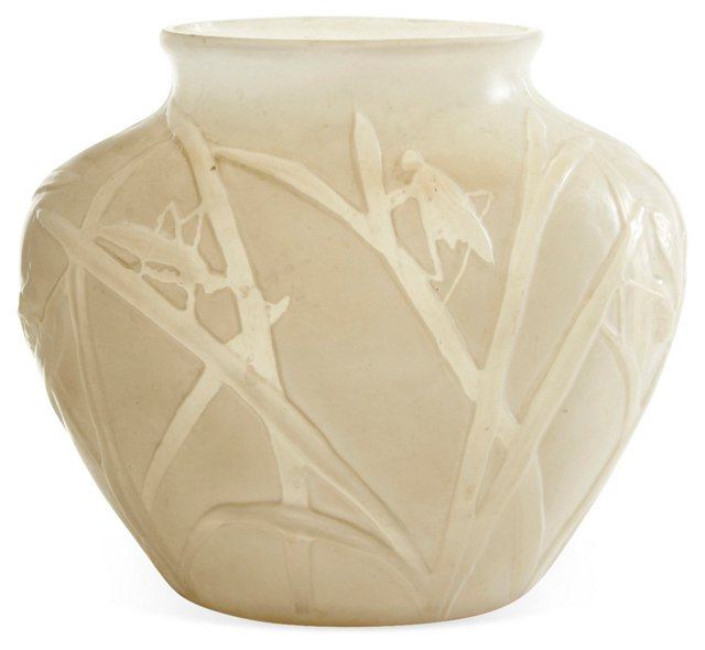 Etched Glass Grasshopper Vase, White