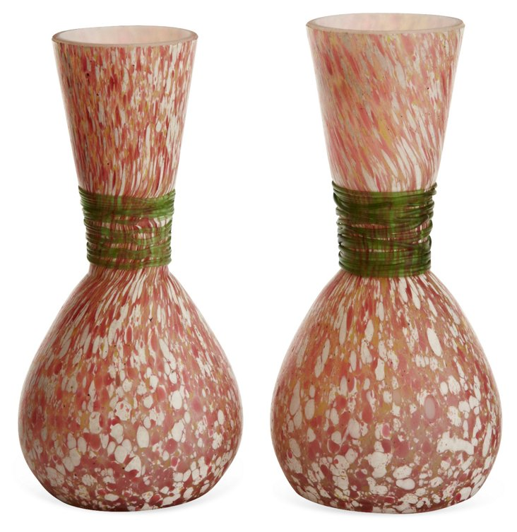 Confetti Art Glass Bud Vases, Pair