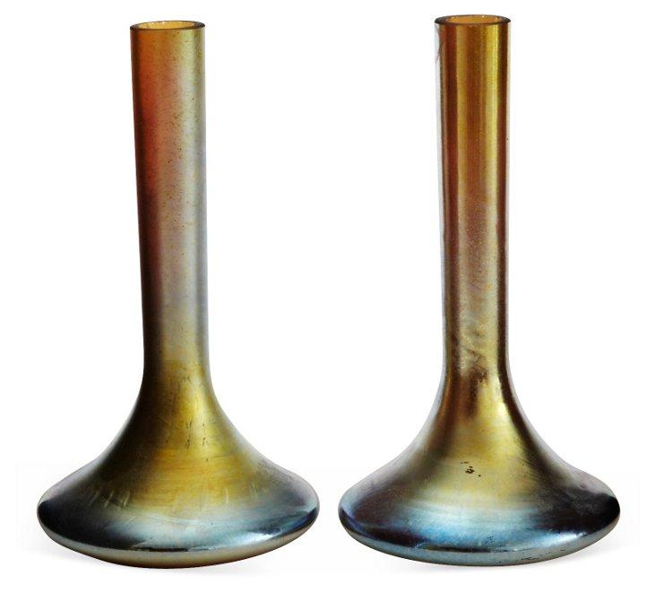 Aurene Glass Bud Vases, Pair