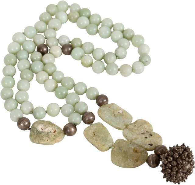 Carved Antique Jade Beaded Necklace