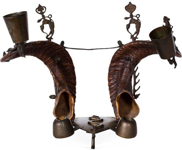 Rams Horn & Bronze Candleholder