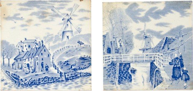 Dutch Delft Landscape Tiles, Pair
