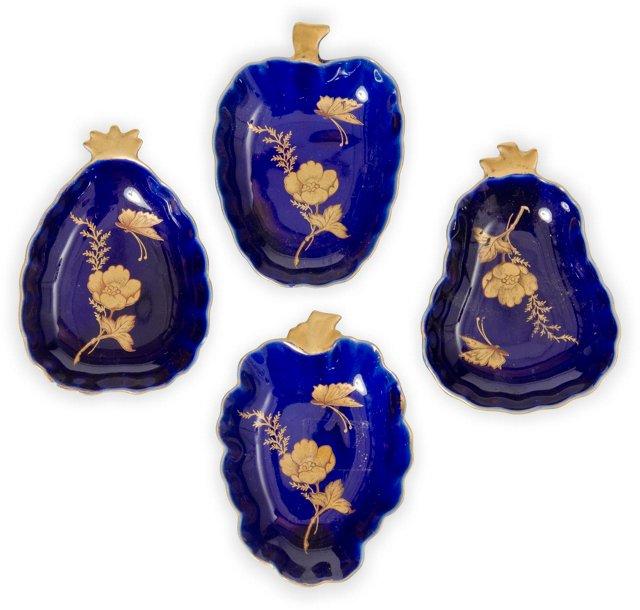 Porcelain Fruit Plates, Set of 4