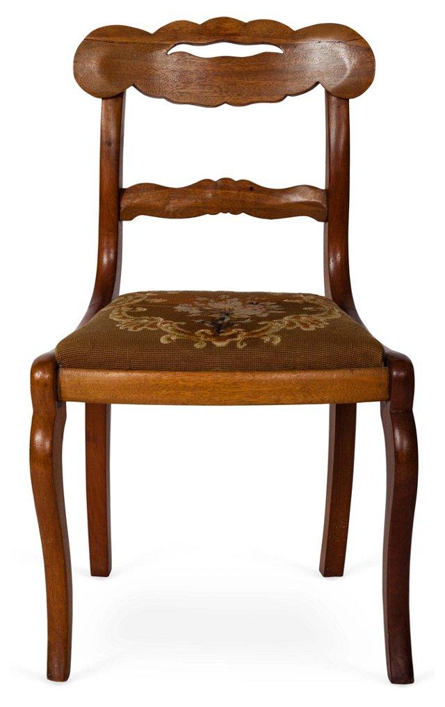 Walnut Side Chair w/ Petit Point Seat
