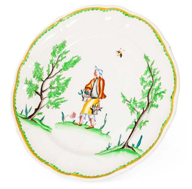 Hand-Painted Antique Porcelain Plate