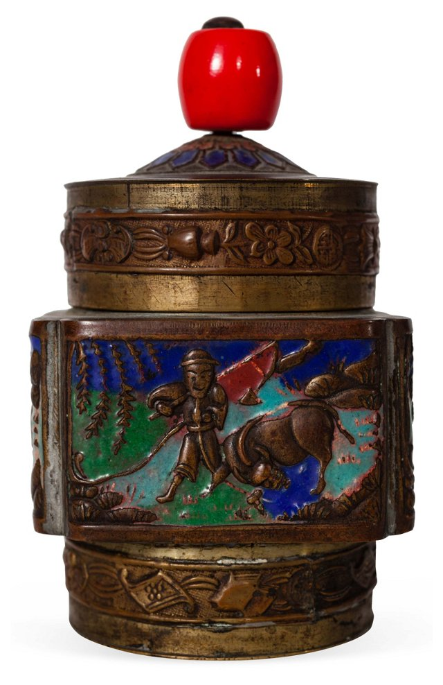 Cloisonné Red Bead Bull Fighter Box