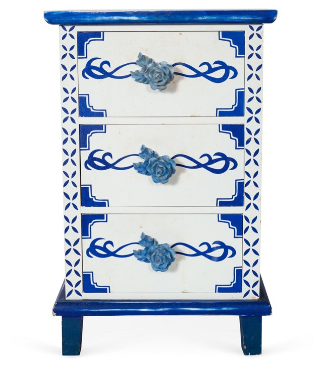 Blue & White Painted Cabinet