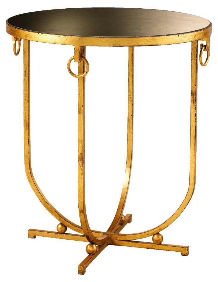 "Clairval 24"" Round Side Table, Gold Leaf"