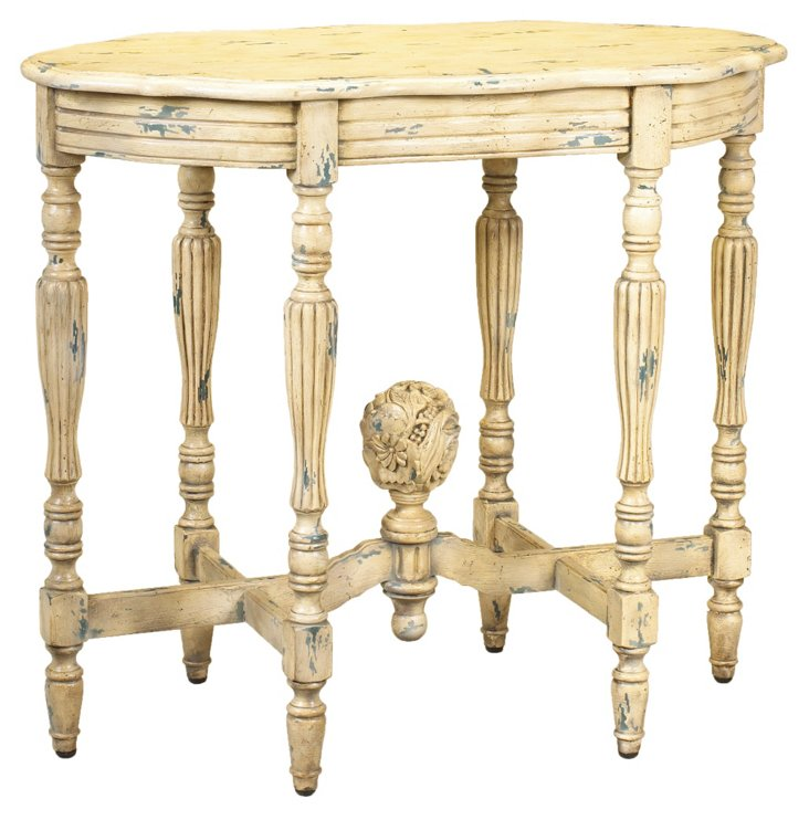Jolie Oval Console Table, Ivory/Blue