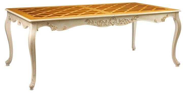 """Limoges 83"""" Dining Table, Ivory/Honey"""
