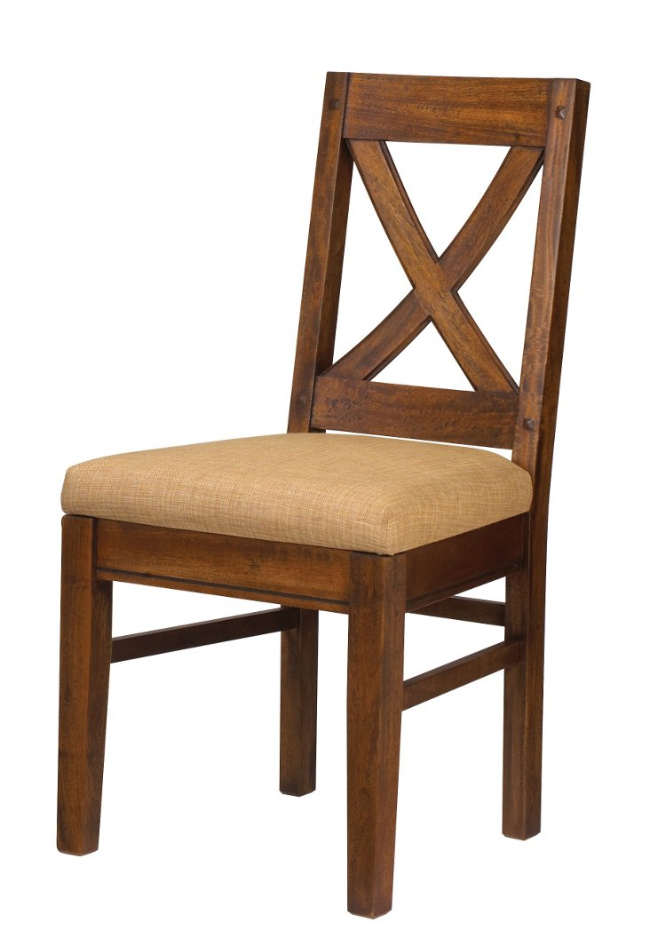 Pyrenees Cross-Back Side Chair, Tan