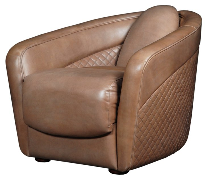 Sebastian Quilted Leather Chair, Caramel