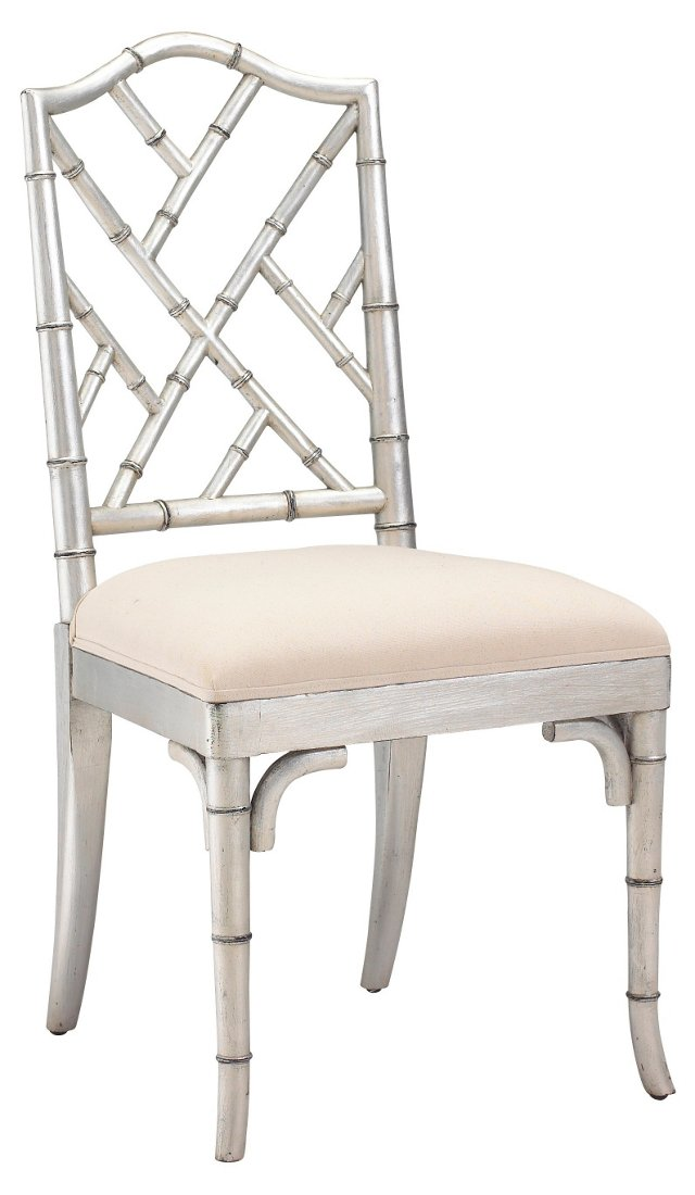 Moselle Side Chair, Silver/Off-White