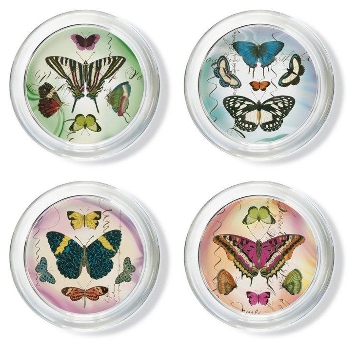 S/4 Assorted Glass Mariposa Coasters