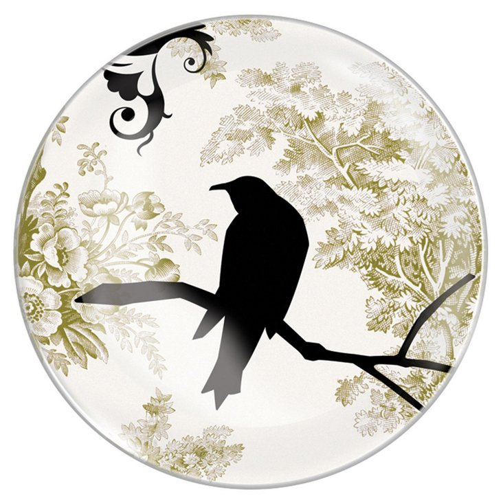 "10"" Round Glass Floral Crow Tray"
