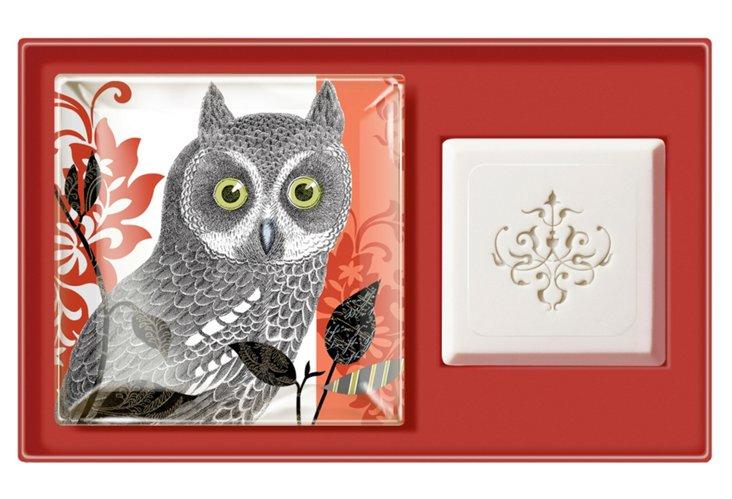 Orange Owl Tray & Soap Set