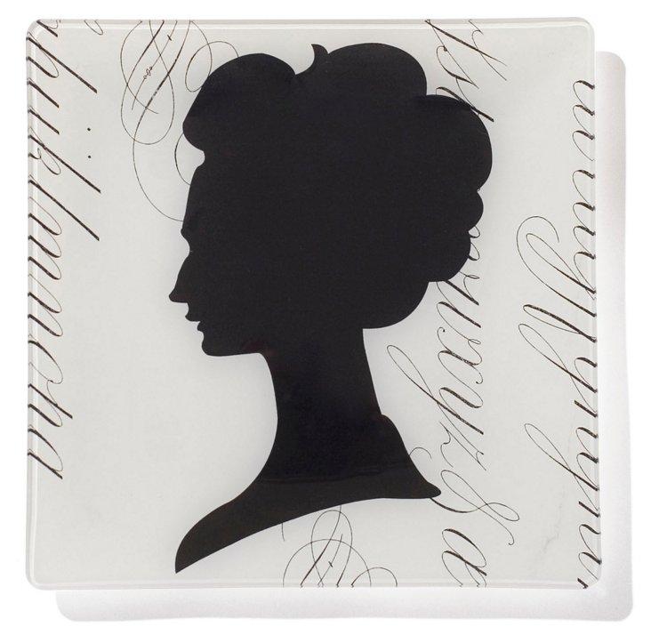 Woman Cameo Square Tray, Medium
