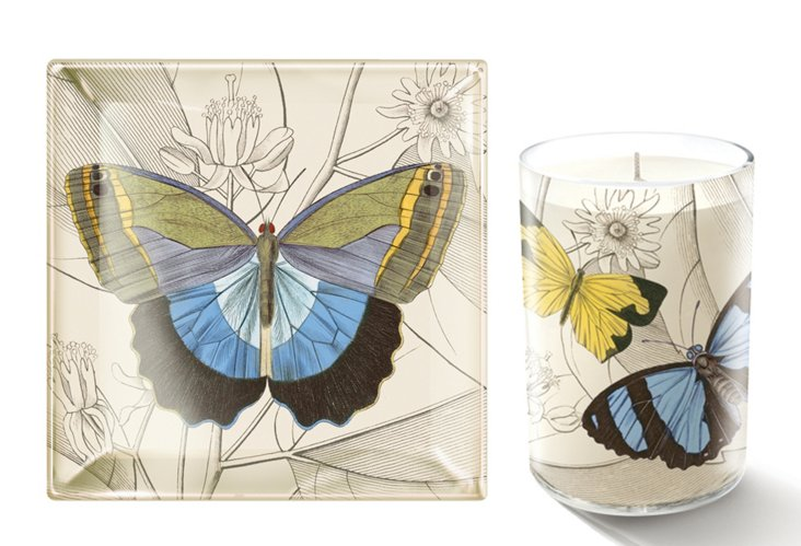 Butterfly Petite Tray & Candle Set