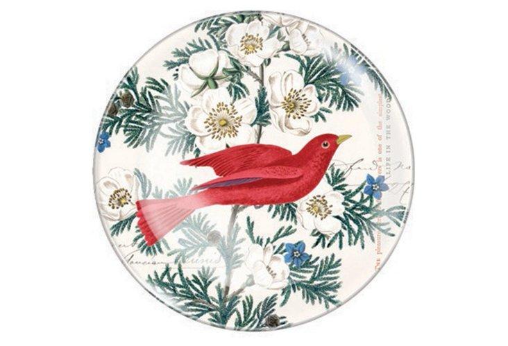 S/2 Red Bird Round Trays, Small