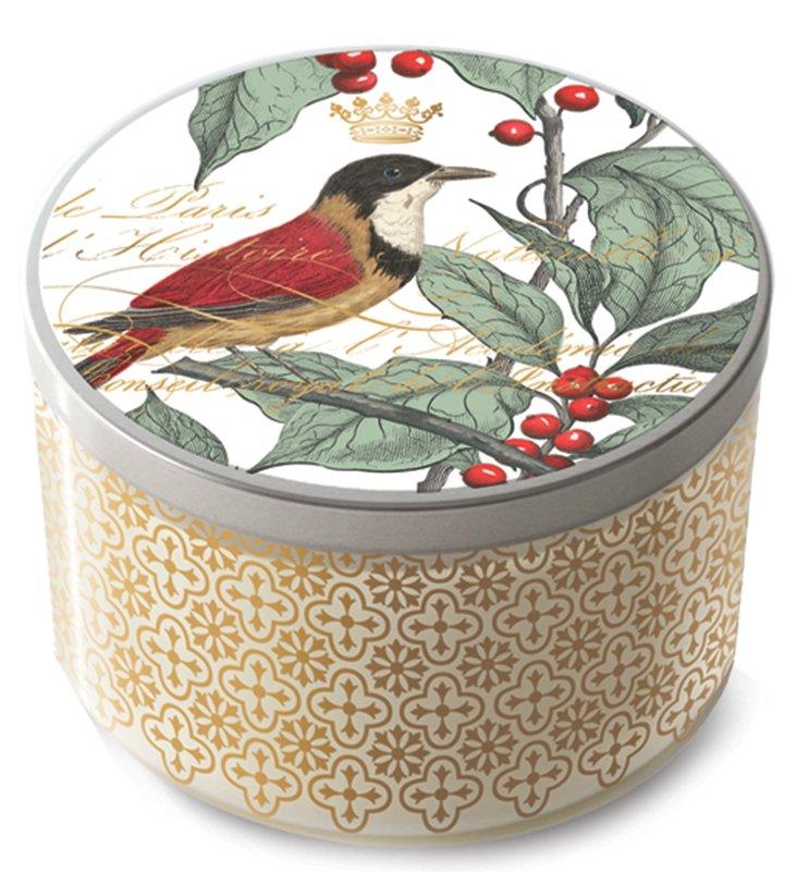 S/2 Holly Bird Tin Lid Candles