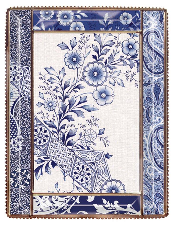 5x7 Flora Glass Beaded Frame, Blue