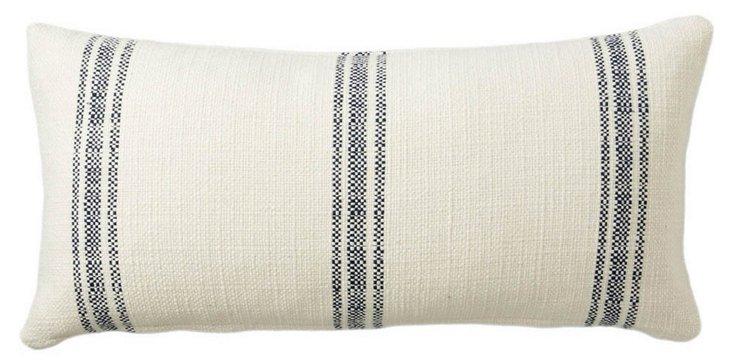 Stripe 12x24 Linen-Blend Pillow, Navy