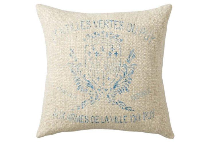 Crest 20x20 Linen-Blend Pillow, Marine