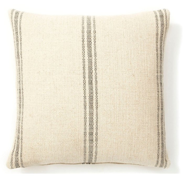 Striped 20x20 Pillow, Black/Sand