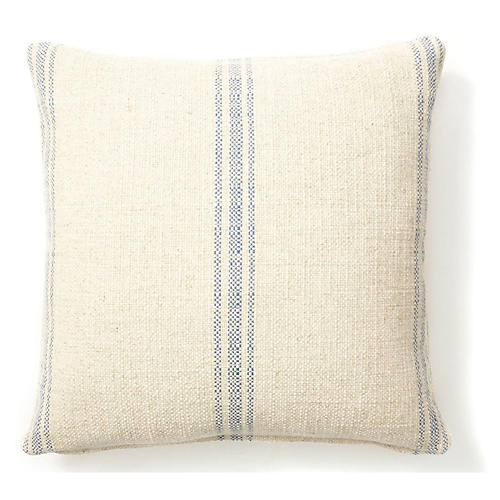 Striped Linen Pillow, Blue Linen