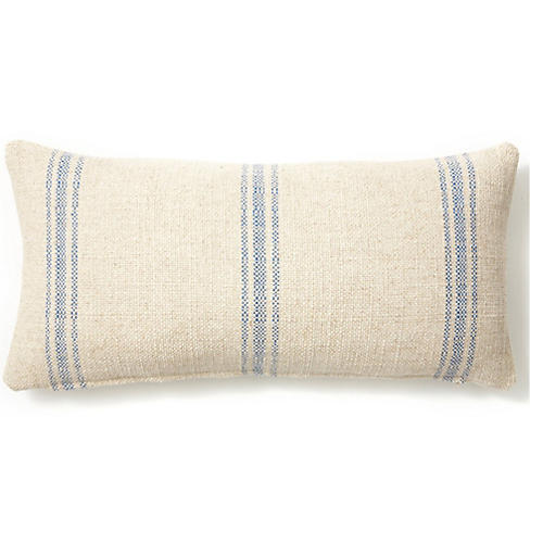 Striped 12x24 Linen-Blend Pillow, Blue