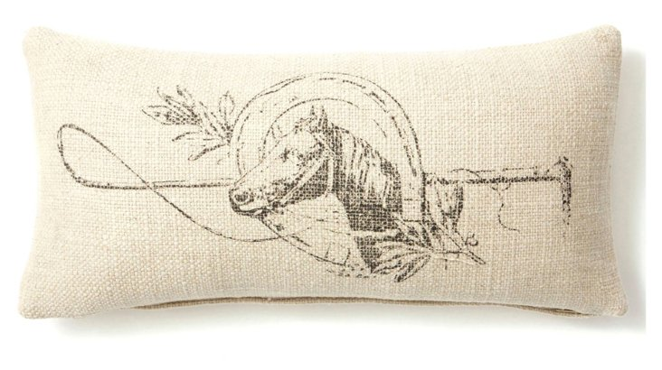 Horse 10x20 Linen-Blended Pillow, Sand
