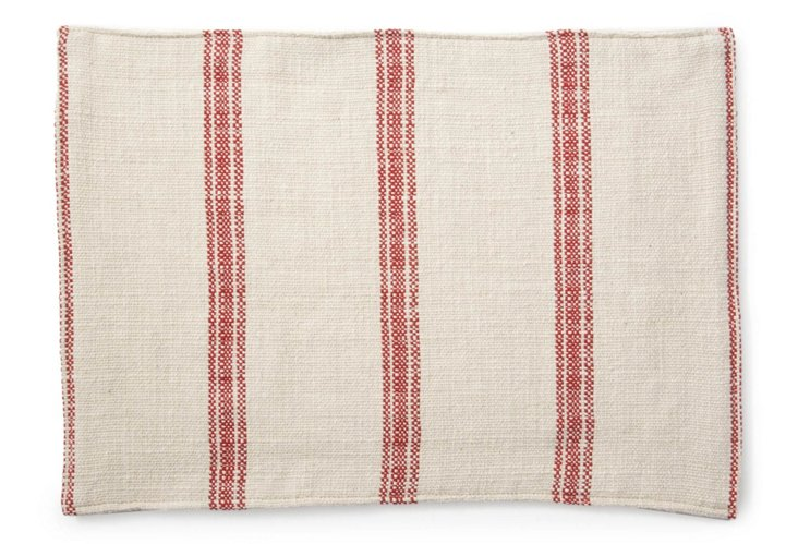 S/6 Brussels Striped Place Mats, Red