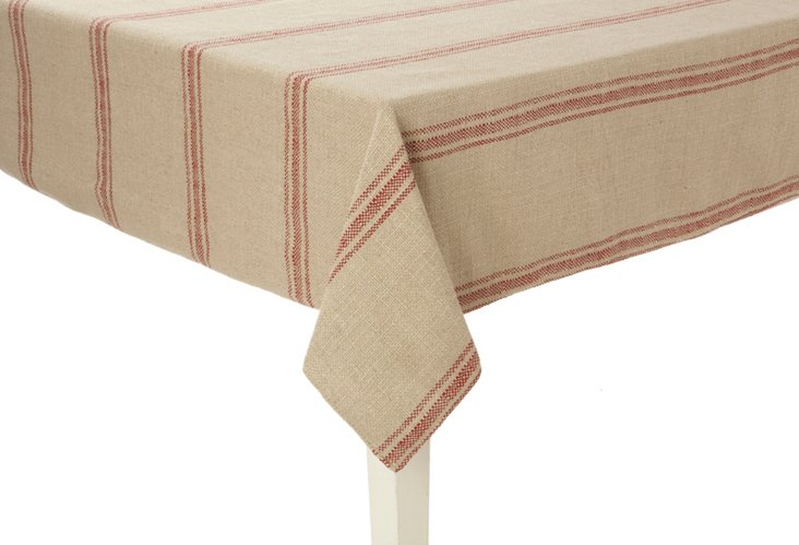 Classic Stripe Tablecloth, Red