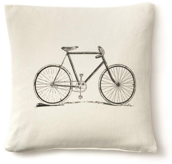 Bike 20x20 Linen/Cotton Pillow, White
