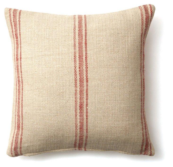 Striped 20x20 Linen-Blend Pillow, Red