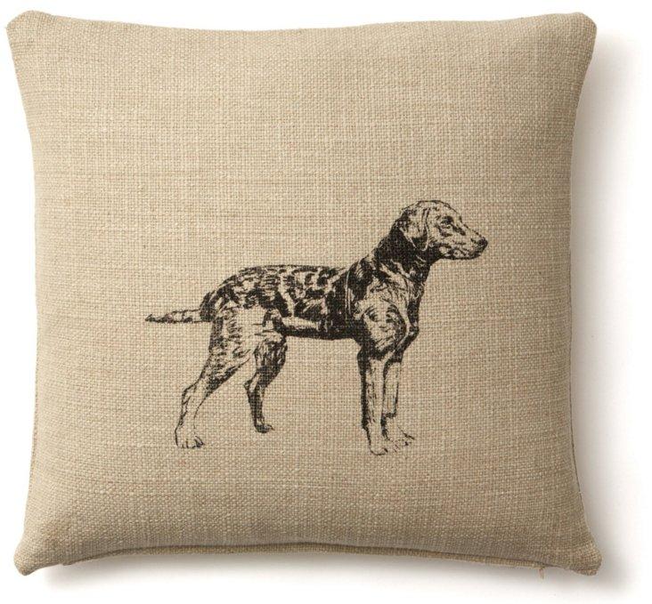 Dog 20x20 Linen-Blend Pillow, Natural