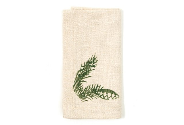 S/4 Pinecone Dinner Napkins, Green